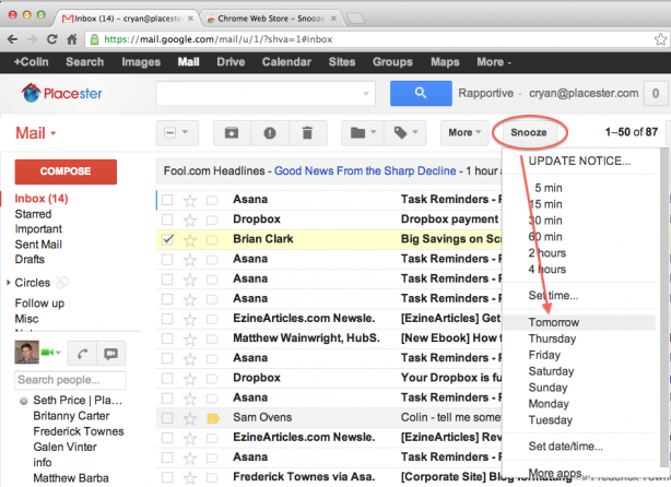 snooze button for your gmail inbox