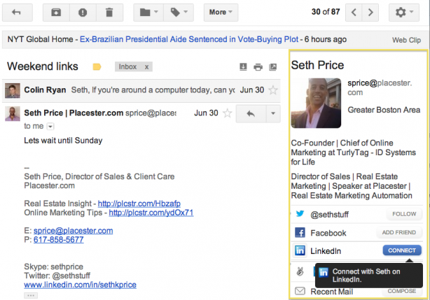 rich profiles for your gmail contacts