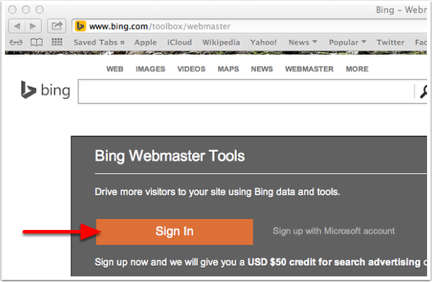 Bing Webmaster Sign In