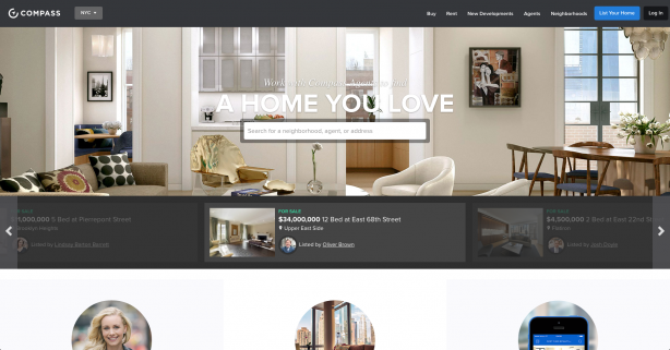 Real estate website Compass