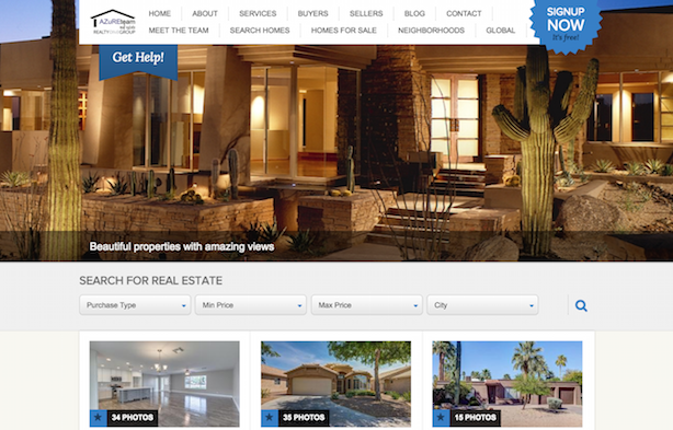 Placester real estate website Azure Realty