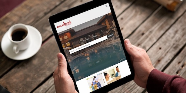 Brickhouse properties website on tablet