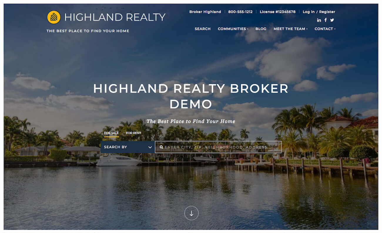 Highland Template Desktop Homepage