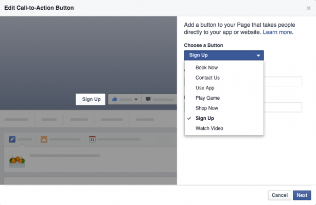 Facebook edit CTA button