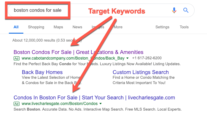 ad target keywords