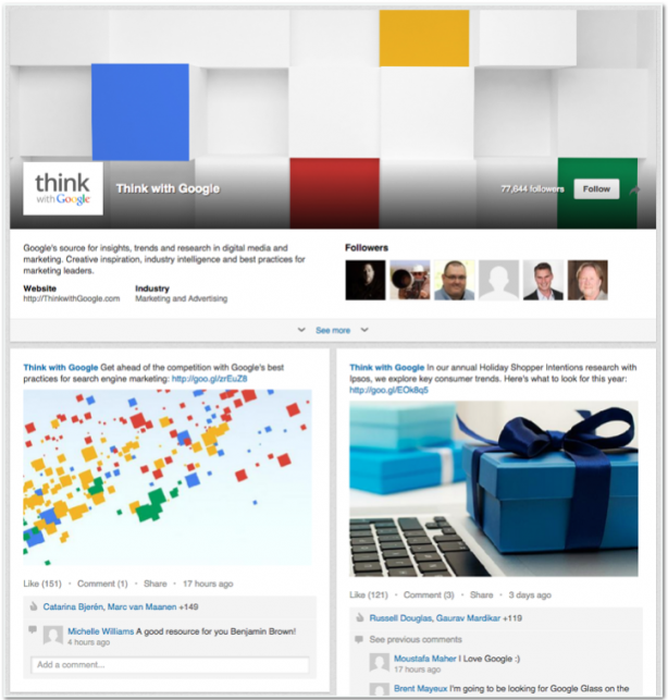 Think with Google LinkedIn Showcase page