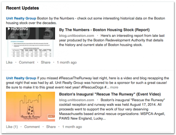 Unit Realty Group LinkedIn content posts updates real estate