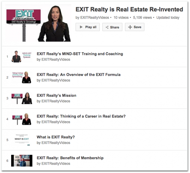 EXIT Realty YouTube playlist