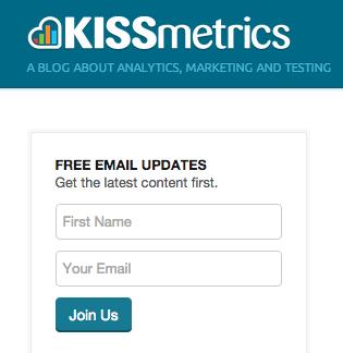 Kissmetrics sidebar signup