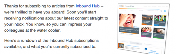 hubspot welcome email