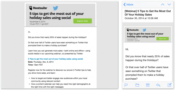 Hootsuite email newsletter responsive design