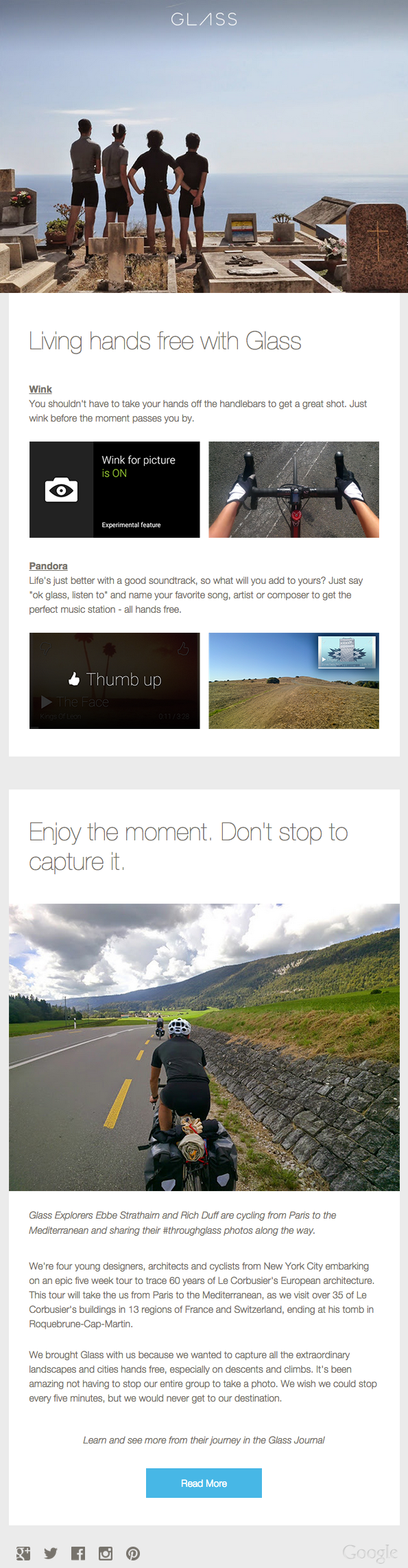 Google Glass email newsletter