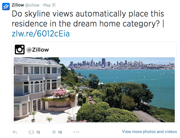 Zillow Twitter page