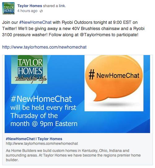 Taylor Homes Facebook page