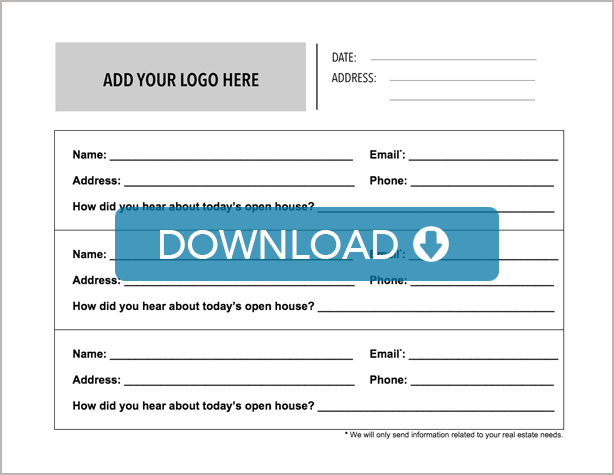 Real Estate Open House Sign In Sheet Free Template Download