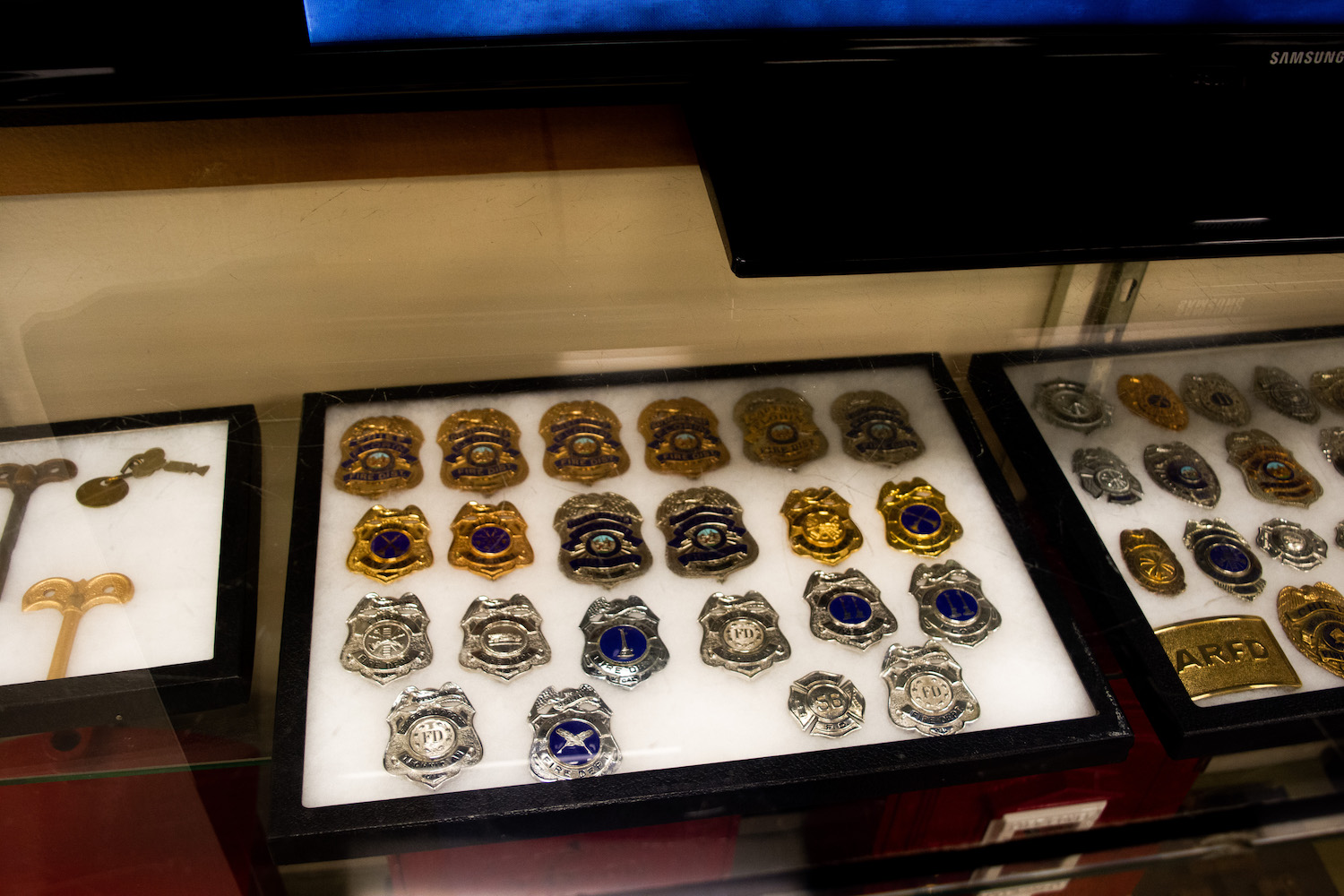 Fire Badges in display case