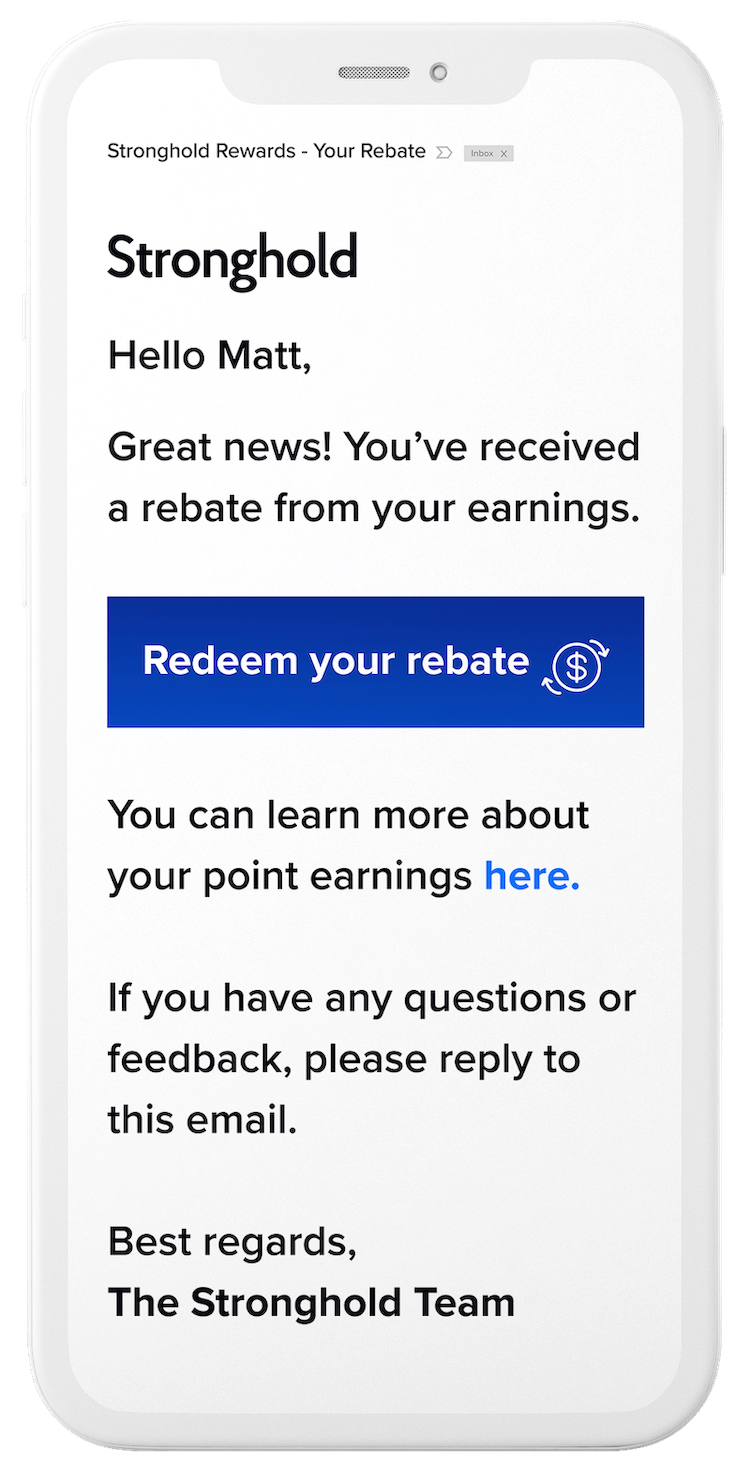 Rewards rebate email