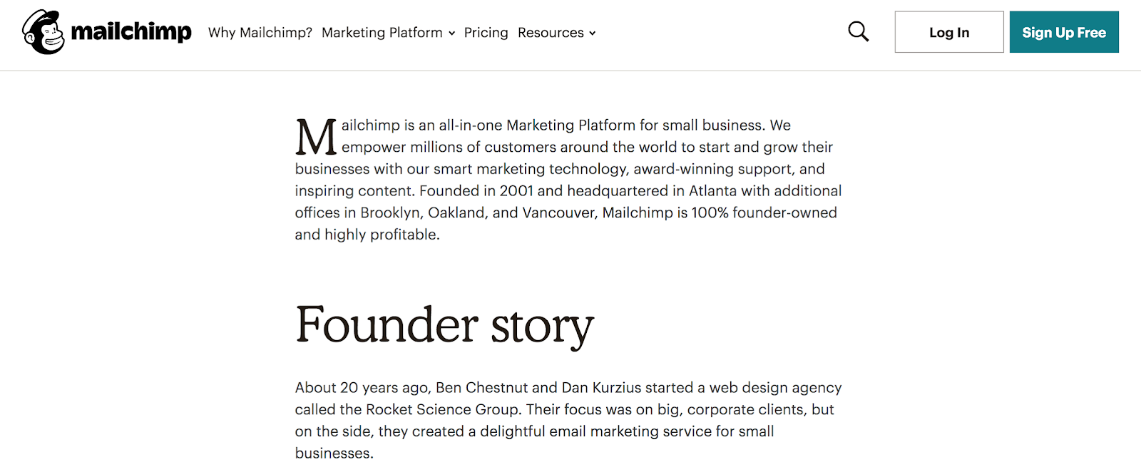 Mailchimp Founder story