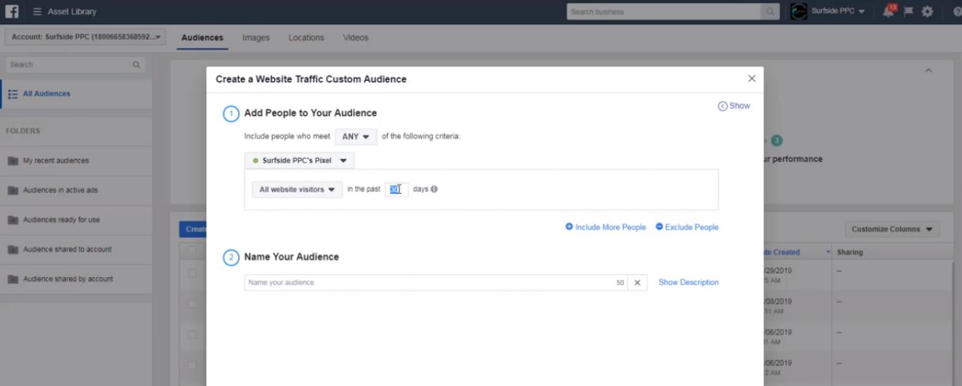 Create a Website Traffic Custom Audience