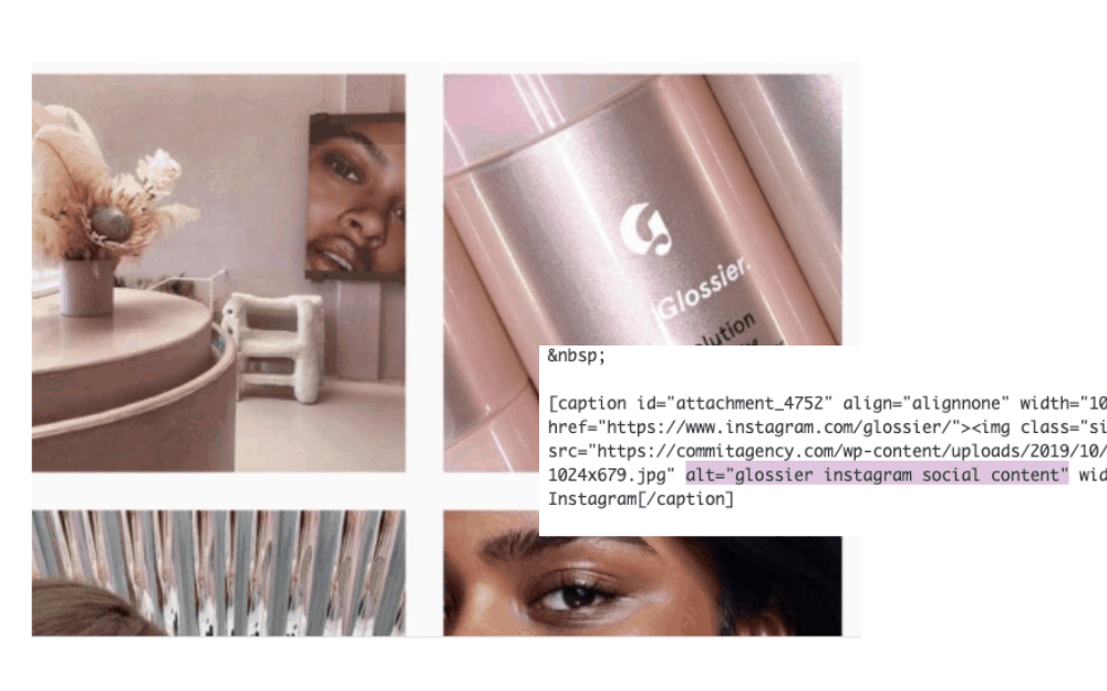alt text in a Glossier image