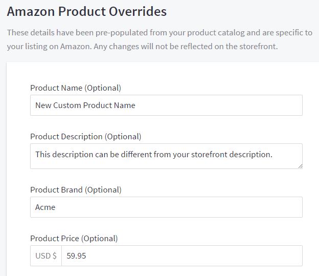 Amazon Product Overrides