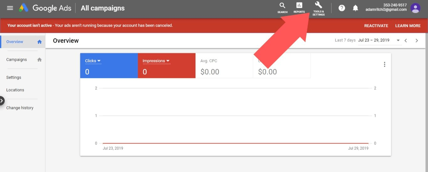 "Log in to your Google Ads account and select ""Tools & Settings"""