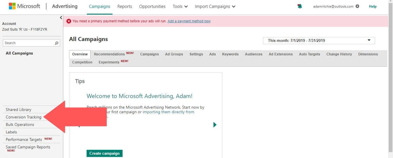"Log in to your Microsoft Advertising account and select ""Conversion Tracking"""