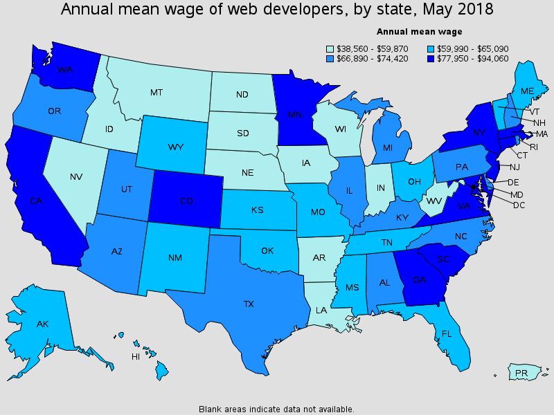 wage of web developers by state