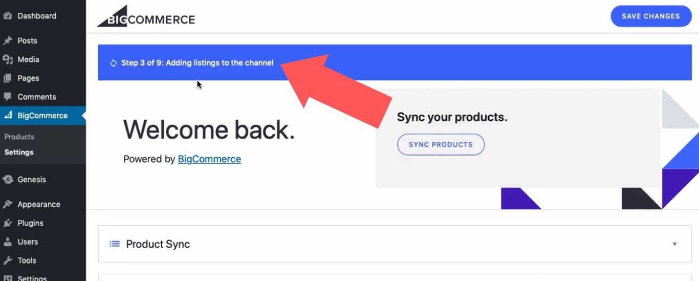 After you create your channel, WordPress will automatically update your site with information from your BigCommerce store