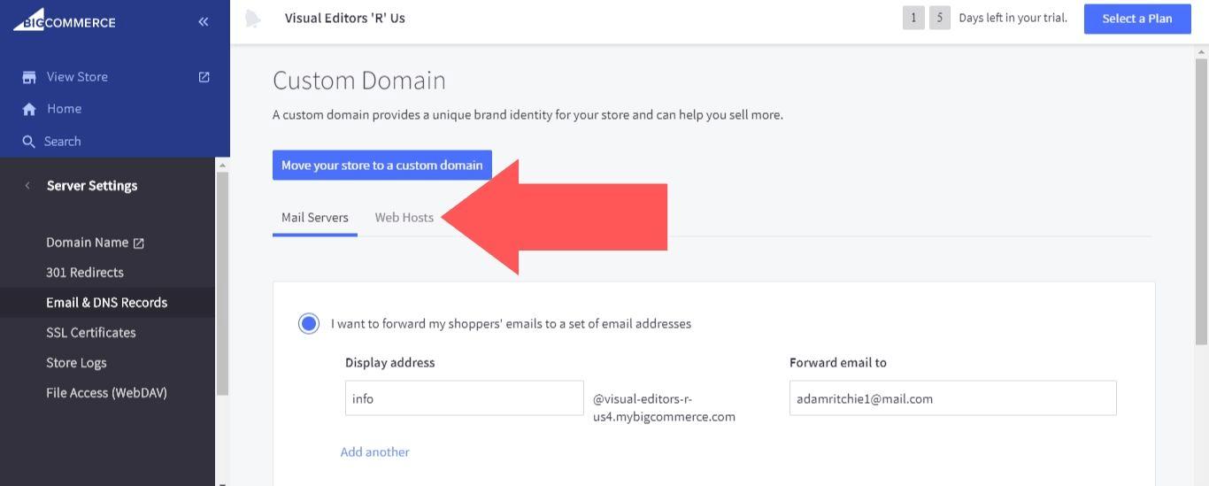 "Select ""Web Hosts"""
