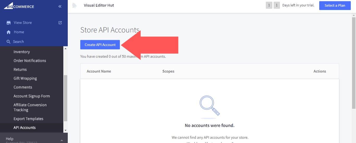 "Select ""Create API Account"""