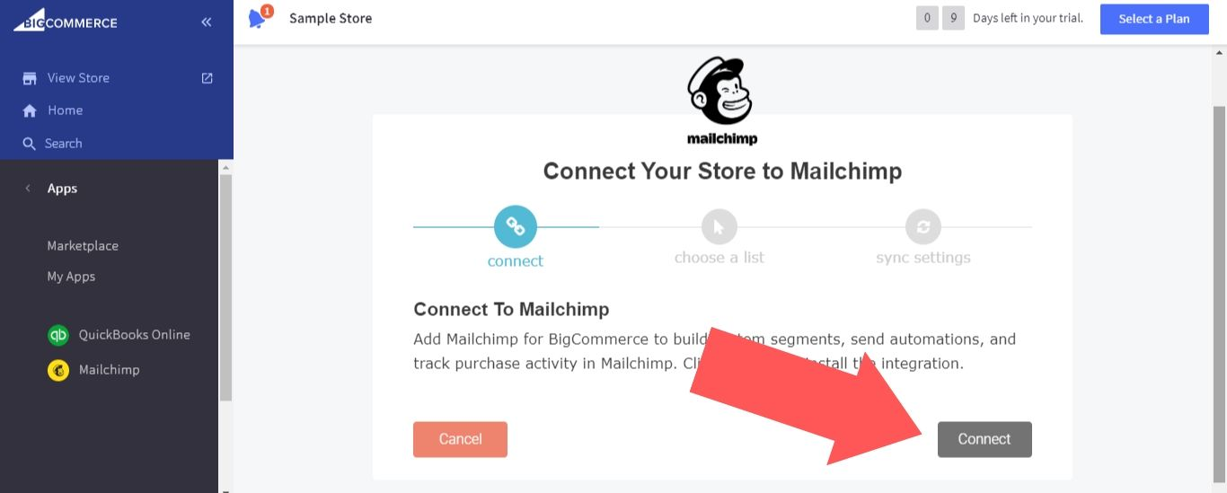 """Select """"Connect"""" for Mailchimp"""
