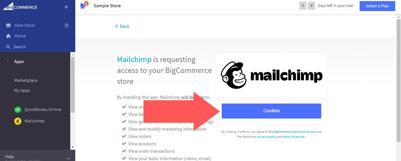 """Select """"Confirm"""" for Mailchimp"""