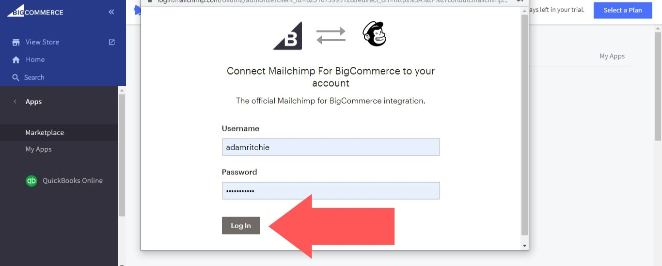 enter your Mailchimp login credentials and sign in