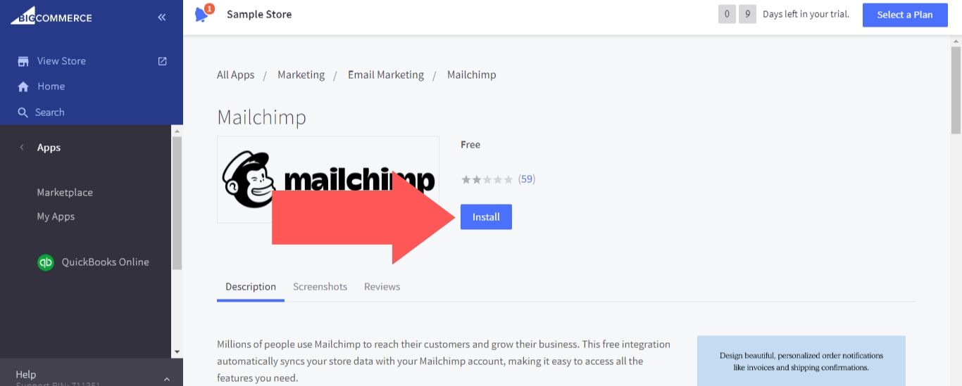 """Select """"Install"""" for Mailchimp"""
