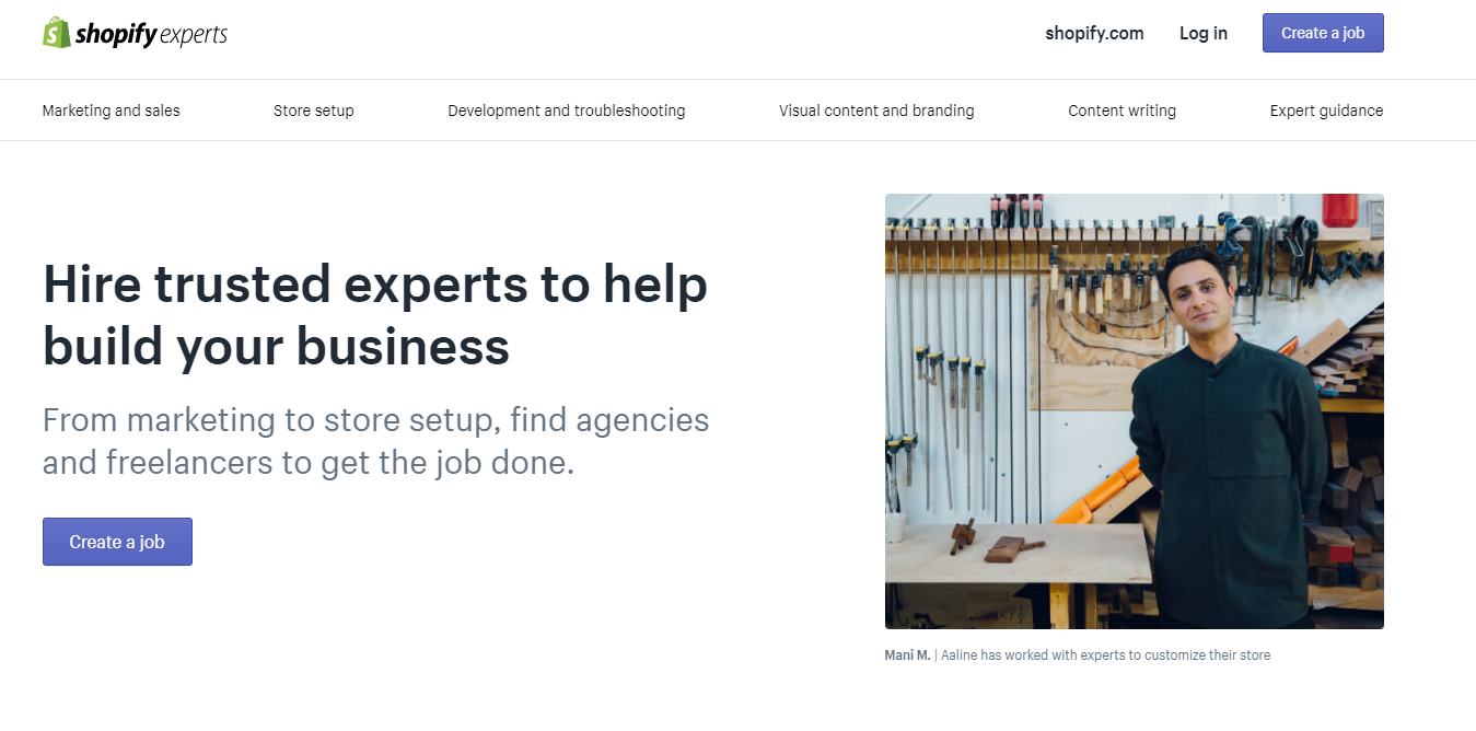Shopify Experts page