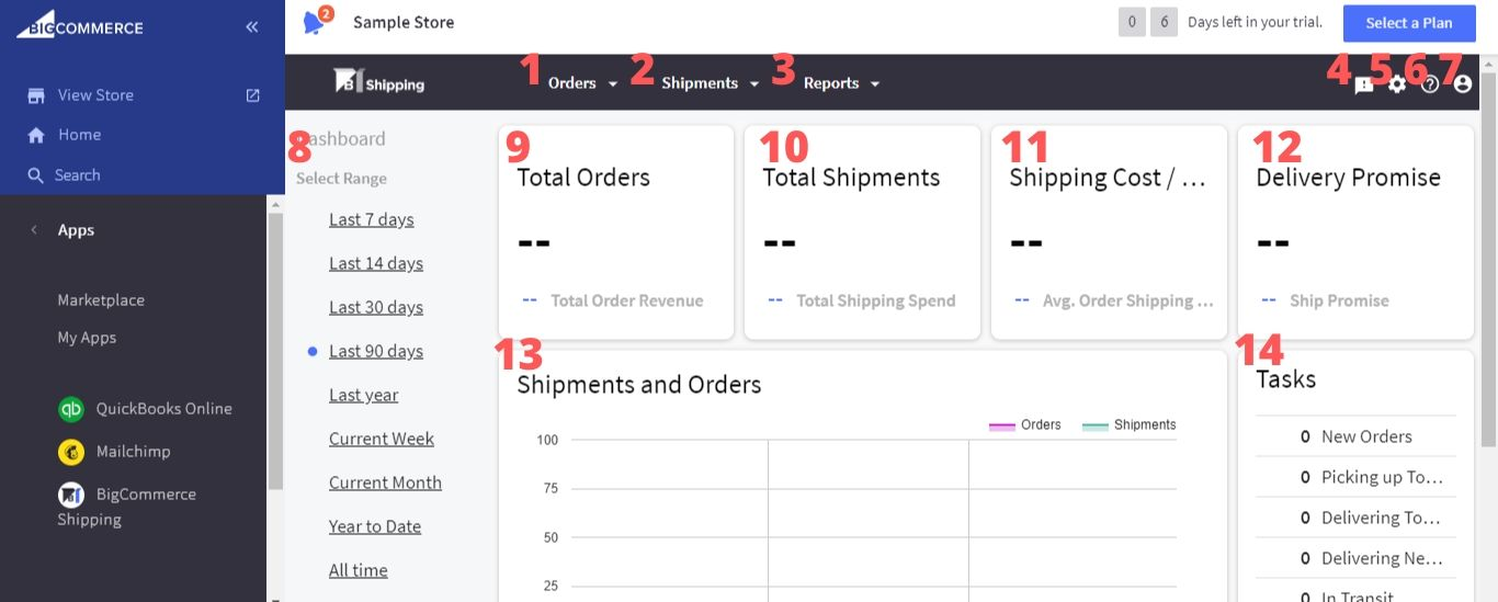 BigCommerce Shipping dashboard