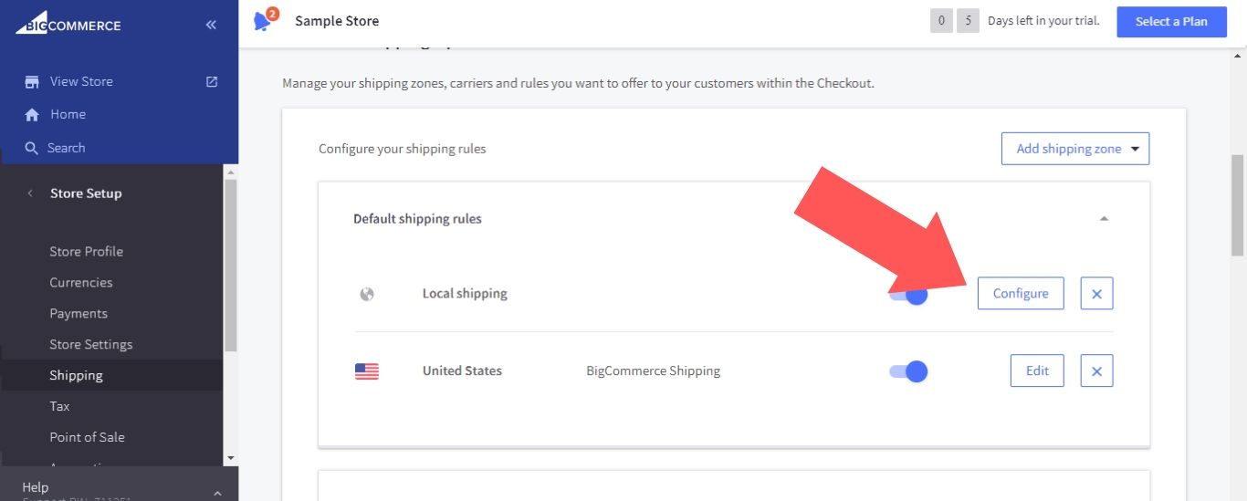 """To add a shipping method to a shipping zone, click on the """"Configure"""" button next to the zone"""