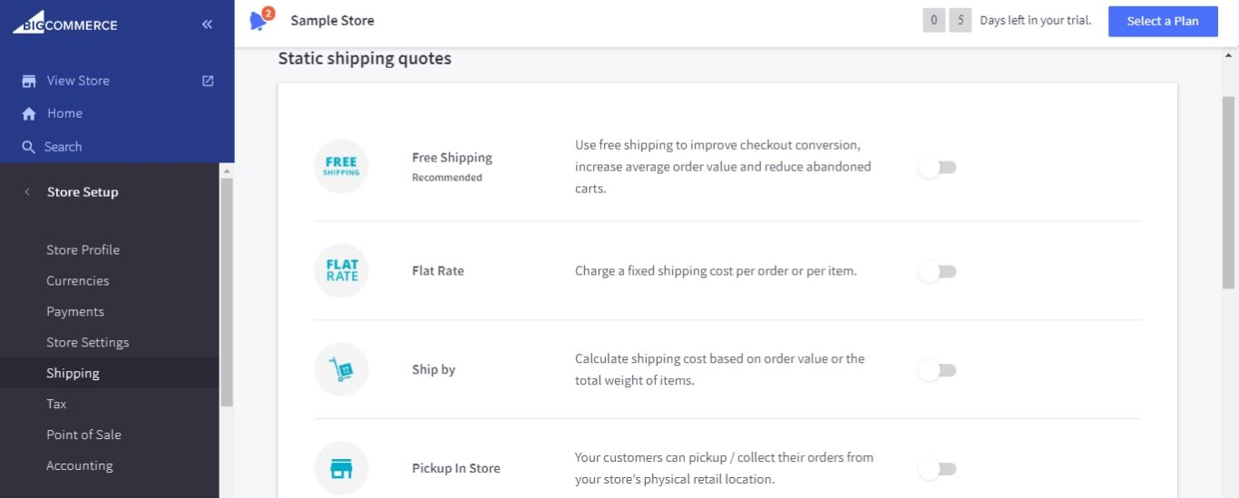 Static shipping quotes