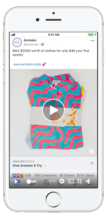 Armoire, a subscription service, Facebook ad