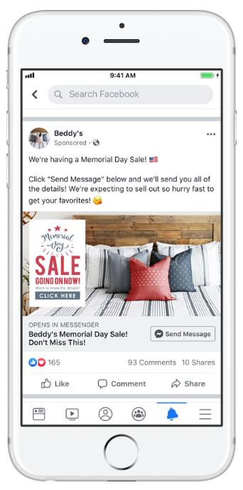 bedding retailer Beddy's Facebook ad