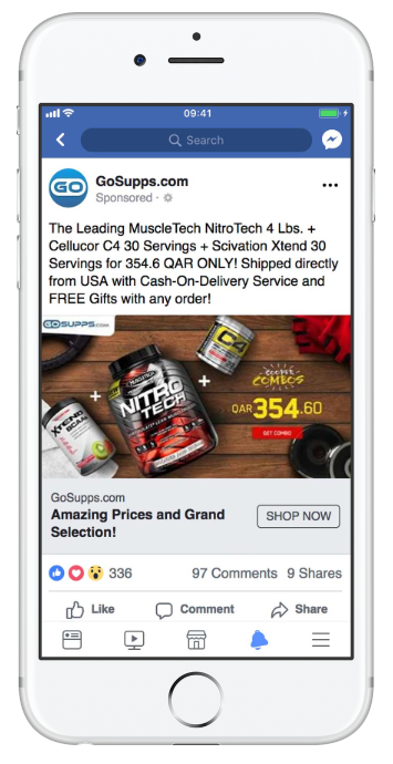 GoSupps.com, an online store specializing in selling nutritional supplements, Facebook ad