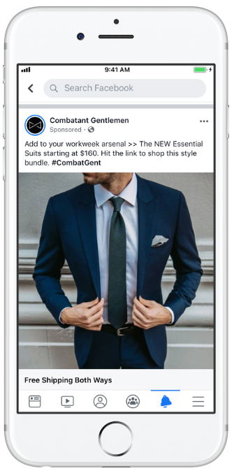 Combatant Gentleman, a men's clothing retailer, Facebook ad