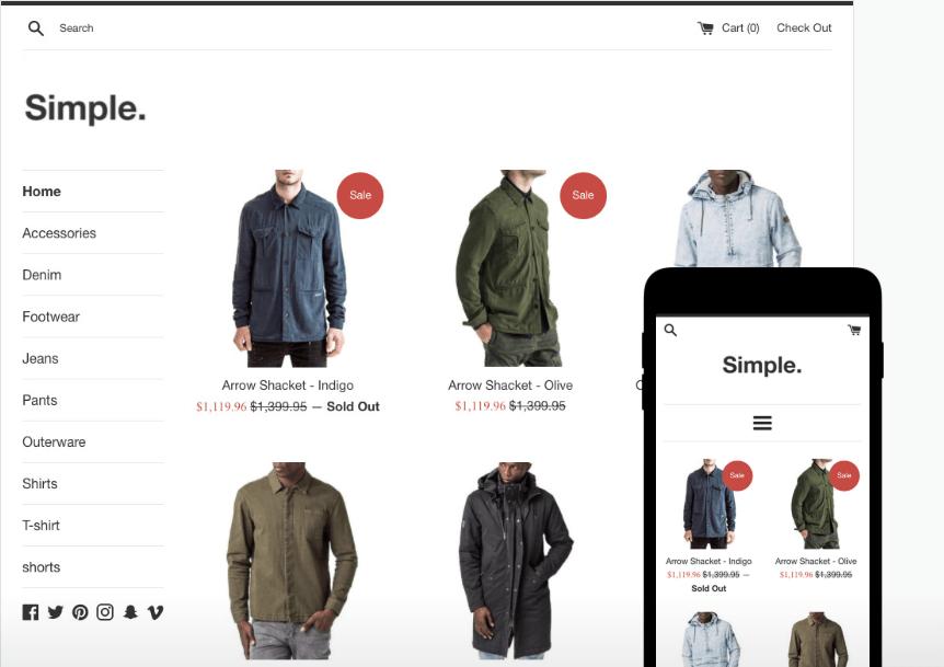 simple free shopify theme