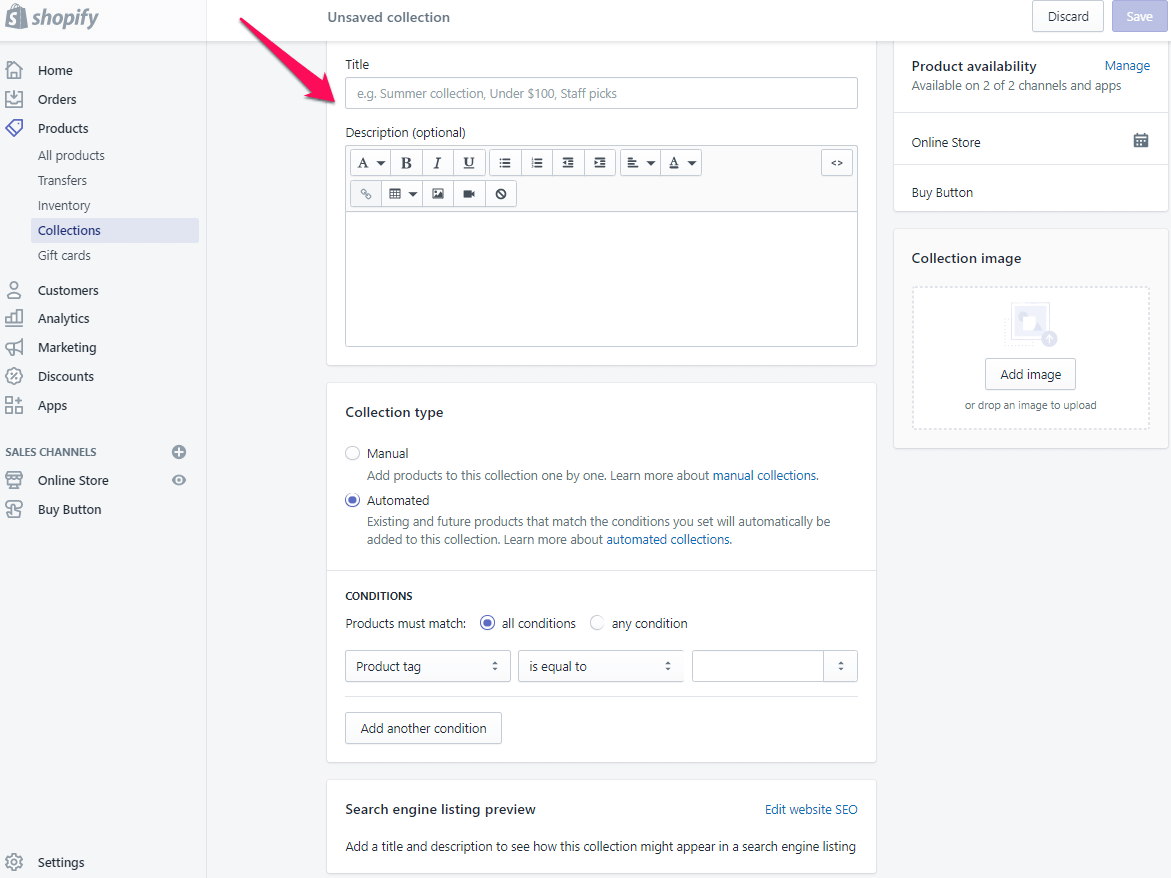 add collections page shopify step 4