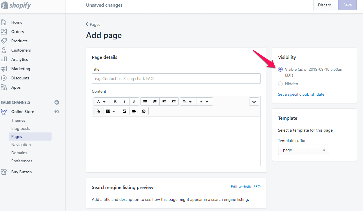 add page on shopify step 6