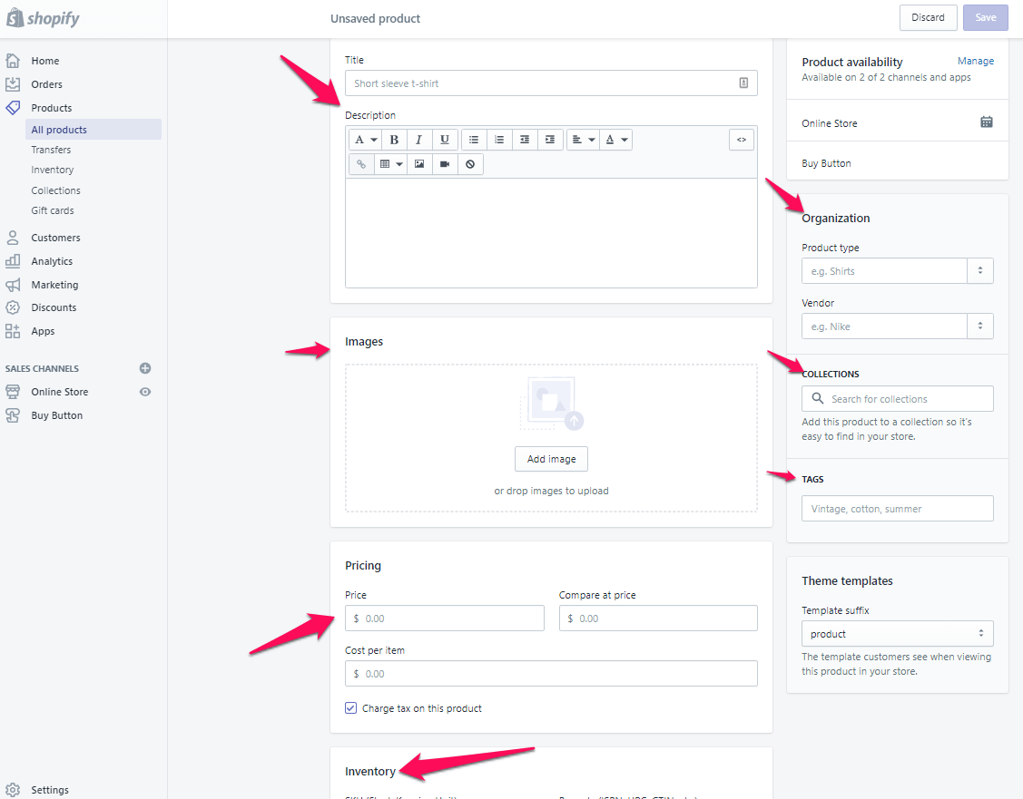 add new product shopify step 4
