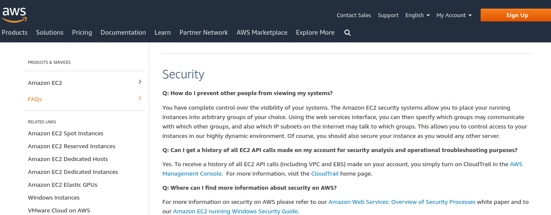 AWS FAQ page