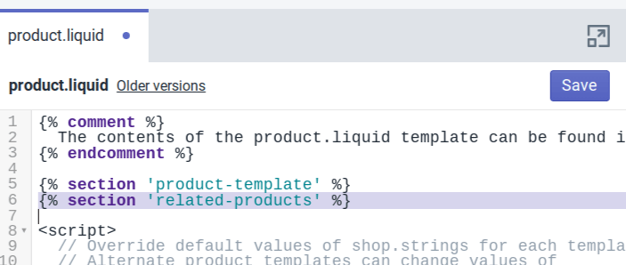 This is the code that will enable Shopify related products to function on your product pages