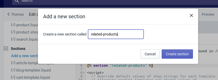 "At the prompt, name your new section ""related-products"""